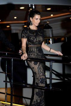 KimKardashian stuns in lace dress at Cannes