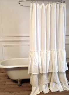 Bella Lace Ruffle Shower Curtain on Etsy, $329.00