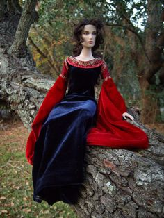 """Arwen Red/Navy Velvet Gown from """"Lord of the Rings: Return of the King"""" Medieval/Renaissance Costume for Tonner 16"""" Dolls - by Morgan May @ Stardust Dolls - http://www.stardustdolls.com"""