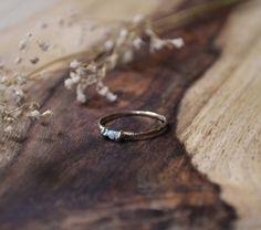 Triple tiny raw diamond ring  size 7 by upscalehare on Etsy