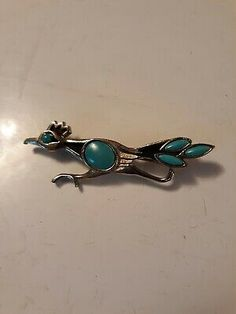 0570c6c6a46c Vintage Road Runner Pin Brooch Silver Tone Metal Turquoise Colored Eye |  eBay