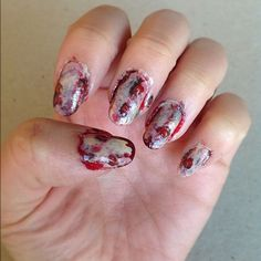 halloween zombie scary dead nail art design blood grimey
