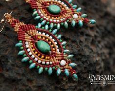 Tribal Earrings/ BIg earrings/ bold earrings/ by yasminsjewelry Macrame Earrings, Tribal Earrings, Triangle Earrings, Big Earrings, Macrame Jewelry, Turquoise Earrings, Turquoise Beads, Micro Macramé, Red Gold Turquoise