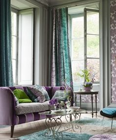 living room: eclectic, purple, teal, green, grey, pattern mix, prints.