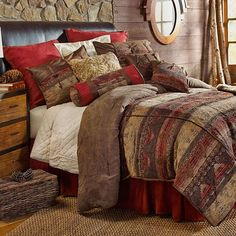 Sierra Southwestern Bedding Comforter Set w/ 3 Pillows Included by HiEnd Accents Chenille and Faux Suede #DelectablyYours Western Southwestern Bed and Bath Decor
