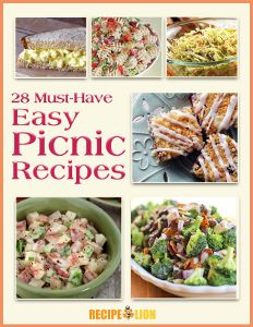 Get ready for picnic season with this free, printable recipe collection!  We have deli salads, desserts and more, all waiting to be made and enjoyed by YOU this summer. Find all 28 easy picnic recipes from RecipeLion in our new eCookbook...