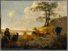 Aelbert CUYP (Dordrecht, 1620 - Dordrecht, 1691)  Landscape near Rhenen: Cows Grazing and a Shepherd Playing the Flute  c. 1650/55, beginning of the artist's mature period  H. 1.70 m; W. 2.29 m  Collection of Louis XVI (acquired in Brussels, 1783)