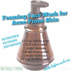 Today's #DIYfriday is Foaming Face Wash for those of us with acne-prone skin. This mixture is super easy to make! In a foaming soap pump, mix together: Castile soap, witch hazel, lavender, lemongrass, melaleuca, and water. We made this in a used and empty hand soap container. Contact us if you have any questions or if you want to hear about Melissa's experiences with her new wash! #acne #foam #wash #essentialoils