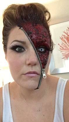 "Awesome ""Unzipped"" Zipper Halloween Makeup Ideas - Halloween - Make-up Zipper Halloween Makeup, Zipper Face Makeup, Creepy Halloween Makeup, Scary Halloween Costumes, Scary Makeup, Spirit Halloween, Fx Makeup, Beauty Makeup, Bloody Halloween"