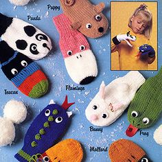 Knitting Patterns Mittens Puppet Mittens Knit ePattern – Kids will love acting out little skits with these ten knitted puppet … Crochet Baby Mittens, Knitted Mittens Pattern, Crochet Baby Blanket Beginner, Knit Mittens, Baby Knitting Patterns, Knitting For Kids, Loom Knitting, Free Knitting, Knitting Projects