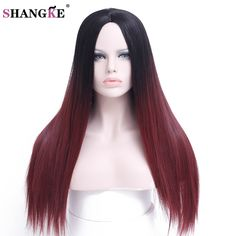 SHANGKE Hair 24'' Long Ombre Wig Black Ombre Burgundy Synthetic Wigs For Black Women Long Straight Wigs Women Natural Female Wig