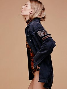 Embellished Military Shirt Jacket | Military inspired soft utility shirt jacket featuring luxe bead accents on the sleeve and allover raw trim. Exposed button closures, hip pockets and bust pocket detailing.