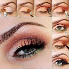 Maquillaje cálido, encuentra más tutoriales de maquillajes aquí...http://www.1001consejos.com/maquillaje-de-ojos-paso-paso/