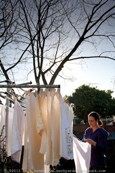 A typical household could save 1500 pounds of carbon dioxide from being released into the atmosphere by hanging out clothes. Laundry Lines, Urban Farmer, Backyard Farming, Household, Clothes, Outfits, Clothing, Kleding, Vegetable Gardening