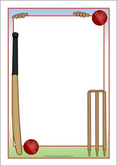 Cricket-themed Page Borders - SparkleBox Cricket Sport, Cricket Match, Cricket Tips, Kitty Party Games, Cat Party, Party Props, Party Themes, Party Ideas, Cricket Theme Cake
