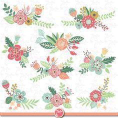 Pack de fleurs Clipart pack « Fleur clipart », Vintage fleurs, fleurs de printemps, Weding fleur, flore, Wd040 d