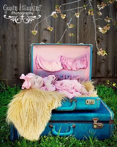 Baby Girl & Suitcases