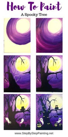 halloween painting How To Paint A Spooky Tree - Step By Step Painting Halloween Painting, Diy Painting, Halloween Crafts, Painting Holidays, Halloween Canvas, Halloween Costumes, Halloween Drawings, Halloween Quotes, Creepy Halloween Decorations