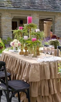 39 best wedding decor images on pinterest flower arrangements burlap ruffled decorative table skirt rustic table skirt choose your size round or rectangle tables wedding event supplies junglespirit Image collections