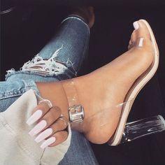 Pumps Celebrity Clear Transparent Buckle Sandals