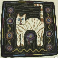 hooked rugs of cat images - Google Search