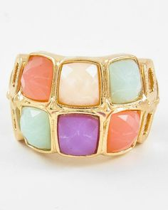 Gold Tone / Multi Color Acrylic / Lead&nickel Compliant / Stretch Ring