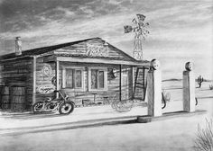 In this class we will draw an old abandoned gas station. During the class you will learn : How to draw clouds How to draw old wood How to draw paint flaking off a sign How to draw an old motorcycle plus many other weathered texture effects 7 Elements Of Art, Cloud Drawing, Basic Drawing, Drawing Tips, Online Art Classes, Art Online, Old Gas Stations, Old Motorcycles, Car Drawings