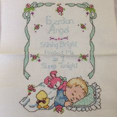 Quadro Anjo da Guarda ( menino) Cross Stitch, Bullet Journal, Wall, Angels, Toddler Girls, Baby Burp Rags, Crossstitch, Cross Stitches