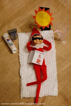 Catching Some Rays | 33 Genius Elf On The Shelf Ideas