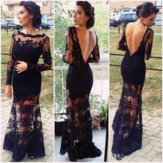Luxury Cap Sleeve See Through Lace Prom Dresses 2014 Black Mermaid Evening Party Gowns vestidos de fiesta US $179.99