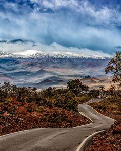 Snow capped Mauna Kea from Saddle Road • Big Island, Hawaii (shortcut drive from/to Hilo and Kona.
