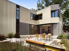 """This prefabricated family home in Princeton, New Jersey, by local architect Marina Rubina was conceived as an """"experiment"""" in providing a high-quality residence that is sustainable and affordable."""