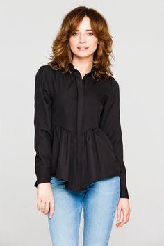 Czarna koszula damska z długim rękawem