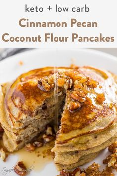 diabetes menu These keto cinnamon pecan coconut flour pancakes drenched in sugar free maple syrup create the ultimate low carb breakfast item. Moist, buttery pancakes with a pecan crunch Coconut Flour Pancakes, Pancakes Easy, Keto Pancakes, Waffles, Sin Gluten, Low Carb Breakfast, Breakfast Recipes, Breakfast Cups, Breakfast Casserole