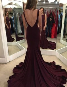 Elegant Scoop Sweep Train Burgundy Backless Prom Dress Evening Gown