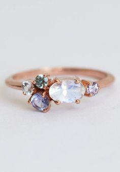 Moonstone & Sapphire Ring | MinimalVS on Etsy