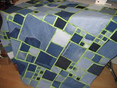 Denim quilt - I like the green sashing and the varied squares ♥