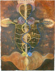 acrylverf, intuitief, geinspireerd door Hilma af Klint