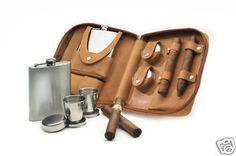 Cigar case leather flask cutter lighter shot glasses