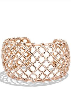Venetian Quatrefoil Wide Cuff Bracelet with Diamonds in Rose Gold