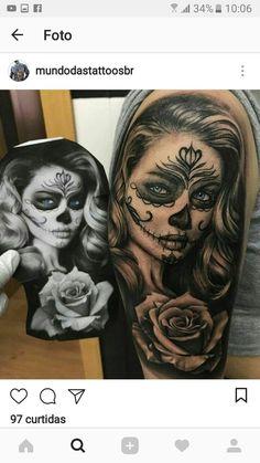 Large dog - New Tattoo Models Large dog Skull Candy Tattoo, Sugar Skull Girl Tattoo, Candy Skulls, Tattoo Girls, Girl Face Tattoo, Girl Tattoos, Badass Tattoos, Sexy Tattoos, Body Art Tattoos