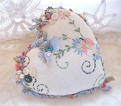 I ❤ hearts . . . Shabby chic embroidered heart ~By Sandy Mastroni