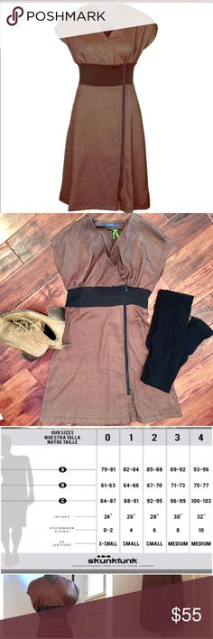 ✨LOWESTDesigner $150 Anthro European Dress Classy little Skunkfunk dress. It's almost a kimono style wrap dress that zips from the top and the bottom for a different fit. Super sexy and sweet. Check the image for size specifics. Skunkfunk Dresses Midi