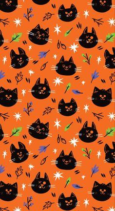 Fun Spooky Black Cat Wallpaper for Halloween