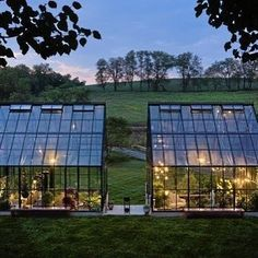 I'm lucky to live in a beautiful sub-tropical climate with no need for a glasshouse.but that doesn't mean I don't lust over some of these gorgeous structures! Greenhouse Restaurant, Glass House, House Goals, Luxury Living, Interior Architecture, Landscape Design, Acre, House Design, Outdoor Decor
