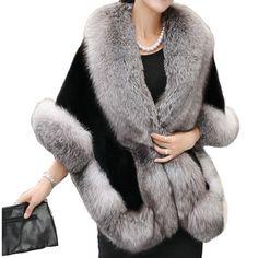 Casaco De Pele Feminino Women's Winter Jackets 2016 Fashion Half Sleeve Fox Fur shawl Coat Of Artificial Fur Casaco De Fur Cape, Cape Coat, Poncho Coat, Faux Fur Collar, Fur Collars, Manteau Vison, Capes For Women, Clothes For Women, Dress With Shawl