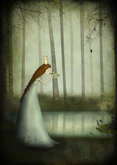The Frog Prince by Majali Children's Book Illustration, Illustrations, Art Manga, Fairytale Art, Pics Art, Whimsical Art, Monet, Fantasy Art, Fairy Tales