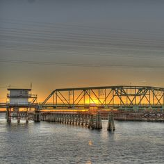 Sunset oner the Surf City Bridge