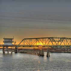 Sunset oner the Surf City Bridge