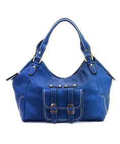 Take a look at this Blue Madeline Satchel by Robert Matthew on #zulily today!